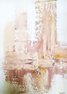 Frihetens veier 80x60 cm. Akryl på lerret m/ strukturer.  Bildet går i fargene: Vanilje, pudder, beige, lys- og mørk terrakotta, oker, burgunder. (bakgrunnen er gylden, med fargen vanilje, beklager fargekvaliteten)  For å se detaljer eller strukturer osv. i maleriet, kan du klikke opp bildet og bevege musepekeren over bildet.