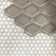 Penny Round Milk Mosaic Porcelain Tile with Nova Hex Graphite Mosaic Tile