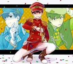 Osomatsu, Karamatsu y Choromatsu Osomatsu San Doujinshi, Dark Anime Guys, Comedy Anime, Ichimatsu, Cute Comics, Anime Style, One Pic, Knight, Super Cute