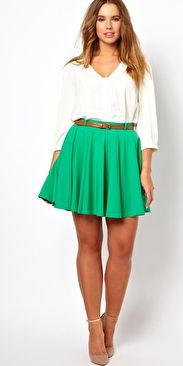 Skater Skirt with Belt (Green) by Asos Curve