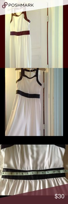 🌻Guess Wide leg Jumpsuit/Romper Size 2 🌻 Long elegant White with leather on waist, arms and neckline. Length from shoulder to bottom is 59 inches; waist laying flat 12 1/2. Visible zipper at the back, zipper length is 17 inches. Used once. No rips or stain. Great condition for white ✌️From Macy's Guess Other