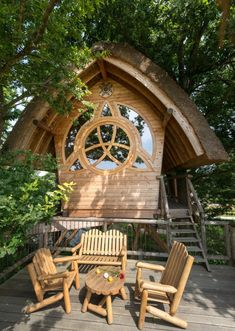 Stay in a treehouse hidden among the branches on your next trip to France Stay In A Treehouse, Treehouse Hotel, Wooden Ladder, Small Ponds, Outdoor Seating Areas, Lush Garden, France Travel, Great View, Stargazing