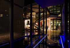 Architecture, Corridor Modern Contemporary House Design With Glass Window And Blue Lighting Ideas: Sleek and Stylish Cal Kempton Park by Nic...