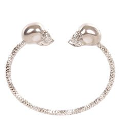 Silver/Grey-Crystal Twin Skull Bangle