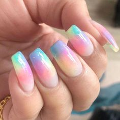 Coffin Nails With Pastel Rainbow ❤️ We have covered the best Easter nails art in this article for your inspiration! ❤️Easter Coffin Nails With Pastel Rainbow ❤️ We have covered the best Easter nails art in this article for your inspiration! Easter Nail Designs, Easter Nail Art, Nail Designs Spring, Easter Color Nails, Best Acrylic Nails, Summer Acrylic Nails, Acrylic Gel, Acrylic Nails Pastel, Colorful Nail Art