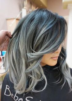 85 Silver Hair Color Ideas and Tips for Dyeing, Maintaining Your Grey Hair Granny Silver/ Grey Hair Color Ideas: Grey Hair Melting Into Blue - Station Of Colored Hairs Grey Hair Wig, Blue Grey Hair, Grey Blonde Hair, Silver Grey Hair, Hair Color Blue, Cool Hair Color, Silver Hair Colors, Gray Color, Men With Grey Hair