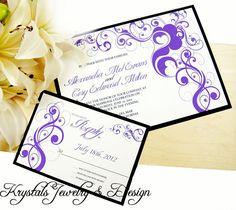 Floral Swirls Royal Purple Wedding by KrystalsJewelNDesign on Etsy, $4.25