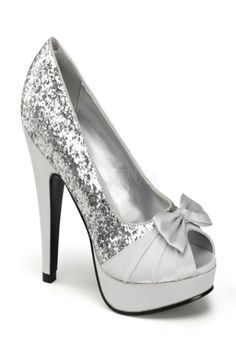 Silver Glitter Satin Bow Platform Open Toe Pump Heels / Sexy Clubwear | Party Dresses | Sexy Shoes | Womens Shoes and Clothing | AMI CLubwear