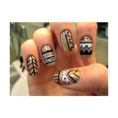 bohemian, nails ❤ liked on Polyvore
