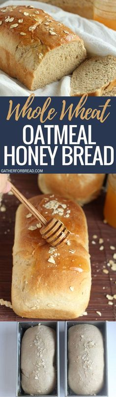 Whole Wheat Oatmeal Honey Bread - Soft and slightly sweet whole wheat oatmeal honey bread. Perfect for sandwiches, toast or buttered up and served with our favorite meal.