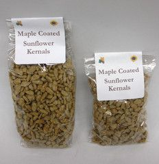 Sunflower Kernels coated with pure maple syrup in a 2 oz or 4 oz bag.