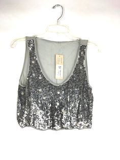7fa30c2582089c Chan Luu NWT Women s Cropped Top Sequin Beaded Size M Gray Sheer Sleeveless  47  ChanLuu  TankTop  Party