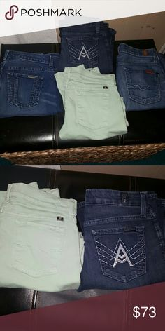 4 WOMEN'S DESIGNER JEANS 4 WOMEN'S DESIGNER JEANS  ALL NWOT  LEFT - Jennifer Lopez - Size 2 TOP MIDDLE - 7 for All Mankind - Size 25 BOTTOM MIDDLE - Lucky Brand crop - 4/27 (fits like 25s) RIGHT - 7 for All Mankind - Size 25  ALL - $73 EACH - $25 7 For All Mankind Jeans Boot Cut