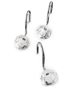Sleek stainless steel and shiny acrylic bring flair to the functionality of the Charter Club Utility Maggie shower hooks, making them a great addition to your shower curtain. | Stainless steel; acryli