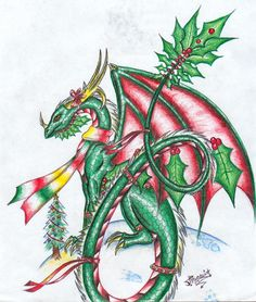 Christmas Dragon 2004 by Talonclawfange on DeviantArt Fantasy Dragon, Dragon Art, Fantasy Art, Fantasy Drawings, Christmas Dragon, Christmas Art, Xmas, Magical Creatures, Fantasy Creatures