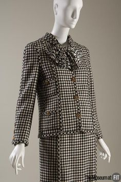 Chanel black and white houndstooth wool , and black and white silk crepe ensemble. Winter 1983. France. Museum at FIT New York.