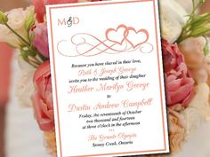 Printable Wedding Invitation Template Heart by PaintTheDayDesigns