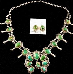 Native American Sterling Silver Squash Blossom Royston Necklace T Francisco Huge