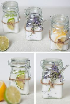 Lime, lavender and orange infused sugar in mason jars ~ makes a lovely gift with an attached recipe!