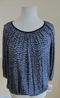NWT MICHAEL KORS MK top Knit Stretch Peasant Blue Fog Print 3/4 Petite PP PS P
