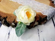 Wedding bridal hair piece clip greenery single silk flower