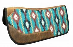 "Showman 31"" x 32"" x 1"" thick Felt bottom Navajo print western saddle pad. This contoured pad features a Navajo print design with leather reinforced spine and over sized wear leathers. We carry a vast selection of equestrian products including the entire line of Showman saddles and tack as well as Blue River, Circle S, Buffalo Saddles. 