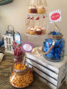 Themed treats at a  nautical birthday party! See more party planning ideas at CatchMyParty.com!