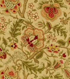 Jeweltones Drapery Upholstery Fabric Woven Jacquard Paisley Floral Ivory