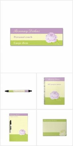 Polkadots and Rose Office Products - Enjoy the lavender, green and light yellow cute design of all those products for your office like business cards, dry erase boards, pens, notepads, binders etc featuring your name or message, often a tagline or title, polkadot backgrounds and a lavender rose - all available at zazzle.com/coloripastello*