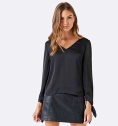 Forever New - Cindy Satin Tie Sleeve Top in Black