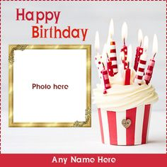 Birthday Cake Candles Images And Photos Frame With Name - Birthday Cake Blue Ideen Happy Birthday Cake Hd, Happy Birthday Gif Images, Birthday Card With Photo, Happy Birthday Wishes Messages, Happy Birthday Frame, Birthday Wishes For Kids, Birthday Photo Frame, Birthday Cake Pictures, Birthday Cake With Candles