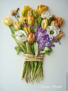 Yellow Tulips, white poppies and lilacs #ribbonEmbroidery