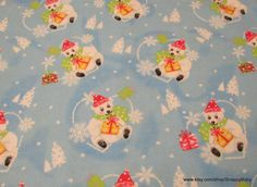 Flannel Fabric  Merry Christmas Bears on Light Blue  by SnappyBaby