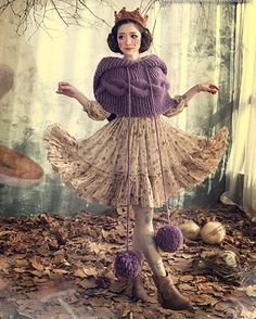 Japanese sweet knitted sweater hair ball Cape от Sexy8baby