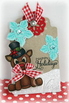 Holiday gift tag by Jen del Muro using Verve Stamps. #vervestamps