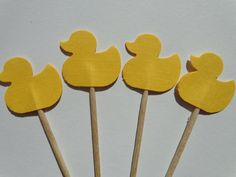 24 Yellow Duck Cupcake Toppers  Food Picks  by SewPrettyInVermont, $4.50