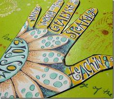 Art Journal Pages–gratitude and blossom Hand Doodles, Doodles Zentangles, Art Journal Pages, Art Journals, Creative Journal, Hand Art, Altered Art, Altered Books, Art Journal Inspiration