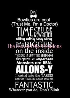 We Do Geek collection                                                   Dr Who Quote 12 x 12 Canvas by TheFoxandOwlCreation on Etsy