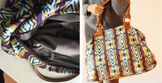 Large aztec print carryall canvas bag. Double lined. Heavy weight. Be the envy of your friends and colleagues with this designer tote!
