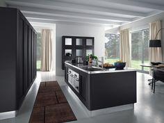 moderne küche kochinsel-schwarz edelstahl-einbaugeräte melo