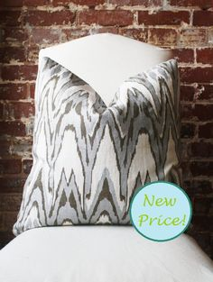 "Silver and Bronze Ikat - Hand Print on Natural Linen - Pillow Cover - 20""x20"" - $59 