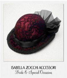 Cappellino rosso con pizzo burlesque mini hat