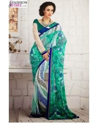Adorable Georgette Printed Saree With Double Color With Lace Work Product Description Color Green Fabric Georgette .