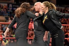 """""""Rowdy"""" Ronda Rousey will team up with Raw General Manager Kurt Angle to battle Stephanie McMahon and Triple H at WrestleMania on Sunday, April Ronda Rousey Wwe, Ronda Jean Rousey, Rhonda Rousy, Rowdy Ronda, Kurt Angle, Eddie Guerrero, Stephanie Mcmahon, Andre The Giant, Mr Perfect"""