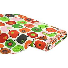 """Tissu coton """"Pommes rétro"""", rouge/vert - tissu original, de style rétro, pour la confection de vêtements ou vos projets déco. Dimensions des pommes (sans tige) : 4,5 x 5,5 cm.Composition : 100 % cotonPoids : 140 g/m²Largeur : 160 cm"""