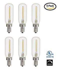 Light Blue 1Watt 15W LED T6 Tubular Filament 120V Candelabra E12 Base Light Bulb Dimmable ULListed 6PACK