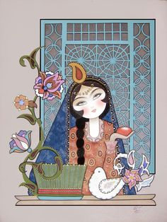 Acrylic Painting نقاشي سنتي ايراني كامليا شجاعي Iranian New Year, Iranian Art, Painting For Kids, Woman Painting, Artist Painting, Princess Drawings, Persian Pattern, Traditional Paintings, Art And Architecture