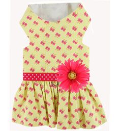Buttercup Butterflies With Pink Daisy Dog Dress- Perfect Dog Summer Clothes