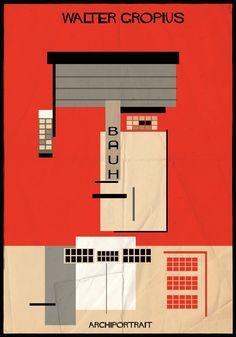 The Latest Illustration from Federico Babina: ARCHIPORTRAIT - Walter Gropius. Image Courtesy of Federico Babina