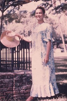 vintage Hawaiian muumuu - my mom wore one of these through most of my childhood. It was a beautiful blue floral...we have many photos of her In it.  It was finally too worn out to keep.